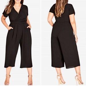 NWOT City Chic   Black Wrap Crop Front Jumpsuit